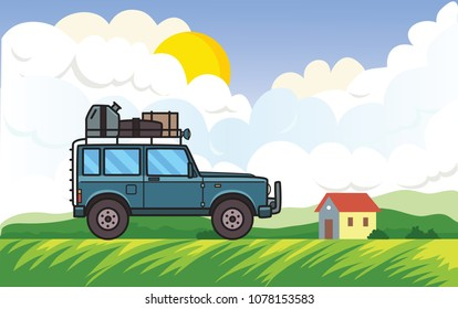 SUV car on rural landscape background with the sun, clouds and a house. Off-road vehicle moving through green meadow. Vector illustration. Flat style. Horizontal.