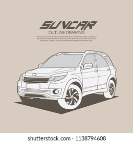 Suv car in ouline drawing vector illustration on high level camera angle.