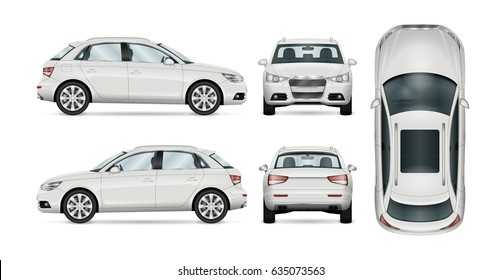 SUV car set on white background, template for branding and advertising. All layers and groups well organized for easy editing and recolor. View from side; front; back; top.