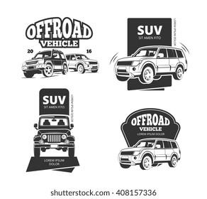Suv car vector badges and offroad labels. Suv offroad car logo set or 4x4 transport emblems