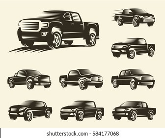 SUV isolated monochrome pickup trucks logo set, cars logotypes collection, black color automotive vehicle vector illustration