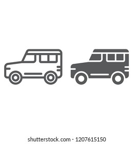 Suv line and glyph icon, transport and auto, car sign, vector graphics, a linear pattern on a white background, eps 10.