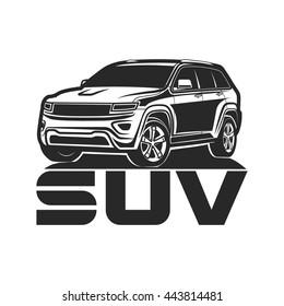 suv logo design car crossover vector illustration