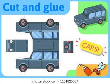 SUV off-road truck paper model. Small home craft project, DIY paper game. Cut out, fold and glue. Cutouts for children. Vector template.