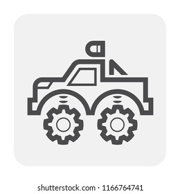 SUV offroad vehicle icon design, black and outline.