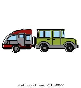 SUV sport vehicle with caravan trailer