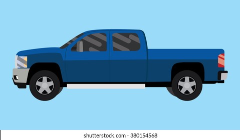suv truck car pickup isolated blue big vector illustration