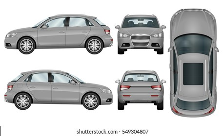 SUV vector mock-up. Isolated template of car on white background. Vehicle branding mockup. Side, front, back, top view. All elements in the groups on separate layers. Easy to edit and recolor.