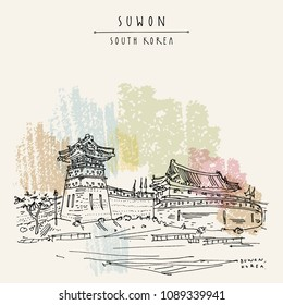 Suwon, South Korea, Asia. Seobukgongsimdon (Observation Tower) and Hwaseomun Gate in Hwaseong Fortress (Buksumun, Hwahongmun). Travel sketch. Vintage touristic postcard in vector