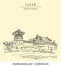 Suwon, South Korea, Asia. Seobukgongsimdon (Observation Tower) and Hwaseomun Gate in Hwaseong Fortress (Buksumun, Hwahongmun). Travel sketch. Vintage touristic postcard in vector