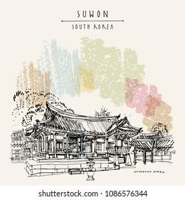 Suwon, South Korea, Asia. Yuyeotaek, a temporary office for the kings and Angbuilgu sundial at Temporary Palace in Suwon Hwaseong Fortress, Korean national treasure. Travel hand drawn vector postcard