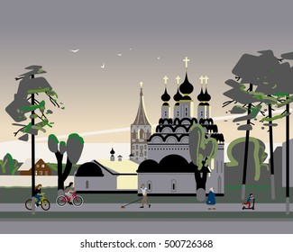Suzdal at sunset, orthodox church illustration with trees, with trees, clouds, birds, passing people and bicycles.