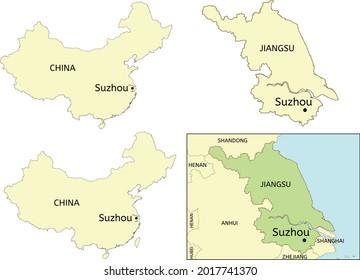Suzhou city location on map of China and Jiangsu Province