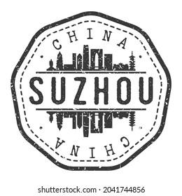 Suzhou, Jiangsu, China Stamp Skyline Postmark. Silhouette Postal Passport. City Round Vector Icon. Vintage Postage Design.
