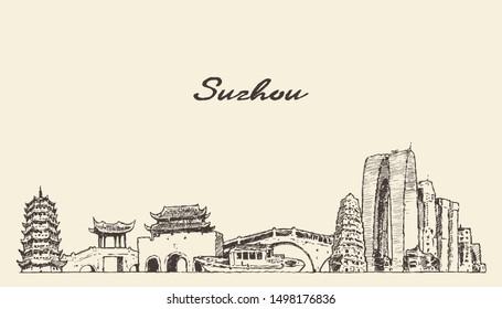 Suzhou skyline, Jiangsu Province, East China, hand drawn vector illustration, sketch