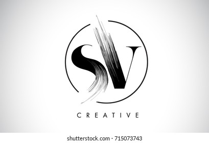 SV Brush Stroke Letter Logo Design. Black Paint Logo Leters Icon with Elegant Circle Vector Design.