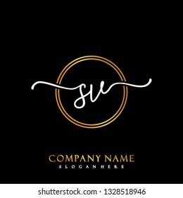 SV Initial Handwriting logo template vector