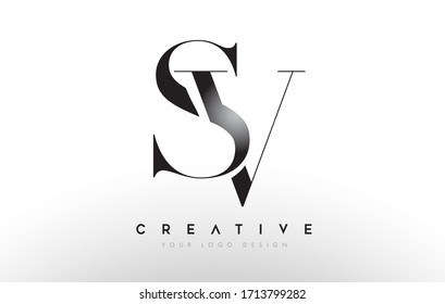 SV sv letter design logo logotype icon concept with serif font and classic elegant style look vector illustration.