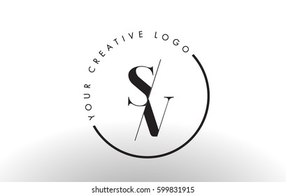 SV Letter Logo Design with Creative Intersected and Cutted Serif Font.