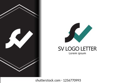 sv s v circle lowercase design of alphabet letter combination with infinity suitable as a logo for a company or business - Vector