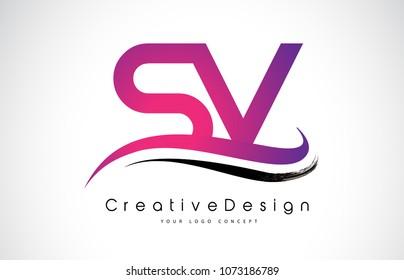 SV S V Letter Logo Design in Black Colors. Creative Modern Letters Vector Icon Logo Illustration.