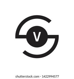 SV VS Letter Initial Logo Design Template - Vector - Vector
