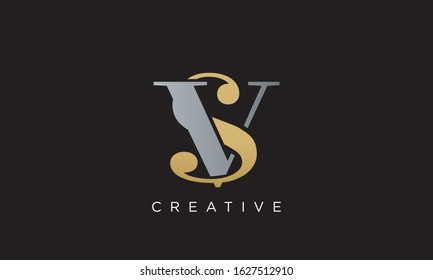 SV OR VS logo design vector icon luxury initial