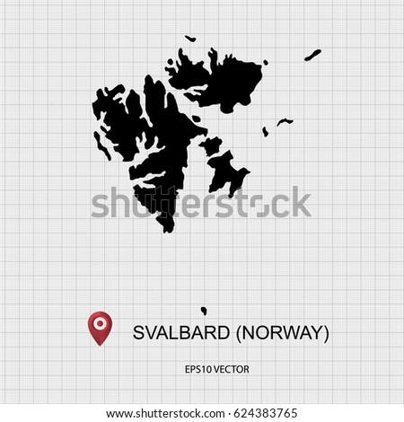 Svalbard Map Vector Stock Vector (Royalty Free) 624383765 - Shutterstock