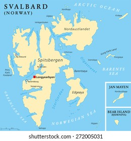 Svalbard Political Map with capital Longyearbyen, a Norwegian archipelago in the Arctic Ocean, formerly known by its Dutch name Spitsbergen. English labeling and scaling. Illustration.