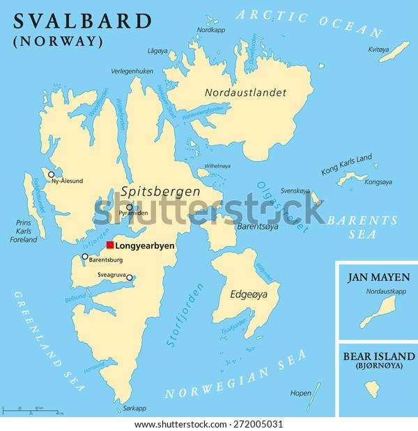 Svalbard Political Map Capital Longyearbyen Norwegian Lagervektor