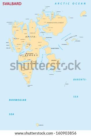 Svalbardspitsbergen Map Stock Vector (Royalty Free) 160903856 ...