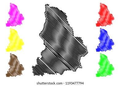 Sverdlovsk Oblast (Russia, Subjects of the Russian Federation, Oblasts of Russia) map vector illustration, scribble sketch Sverdlovsk Oblast map