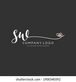 SW Beauty vector initial logo, handwriting logo of initial signature, wedding, fashion, jewelry, boutique, floral and botanical with creative template for any company or business.