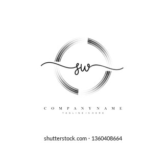 SW initial handwriting logo template vector