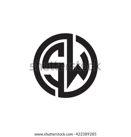 sw initial letters looping linked circle stock vector royalty free