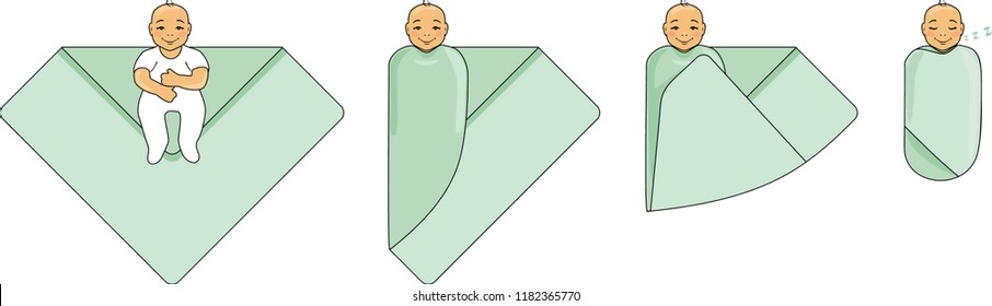 Swaddle a baby. Instructions for use. Vector
