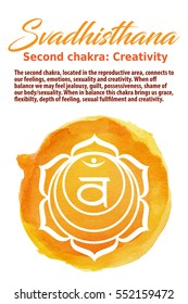 Swadhistana Chakra symbol on a watercolor dot, vector illustration. The Sacral Chakra