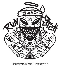 Swag alien - black print for t shirt with slogan. Tee graphics with slogan. Rapper alien. Alien gangster in bandana shows symbols his fingers. Cool party art, gangsta character.  Vector illustration