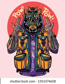 Swag gangster - futuristic character, cool cyborg. Rapper boy with cyber prosthetic arms. Guy rapper shows fingers pistols. Sticker, car wrapping. T shirt print, tee graphics with slogan. Vector image