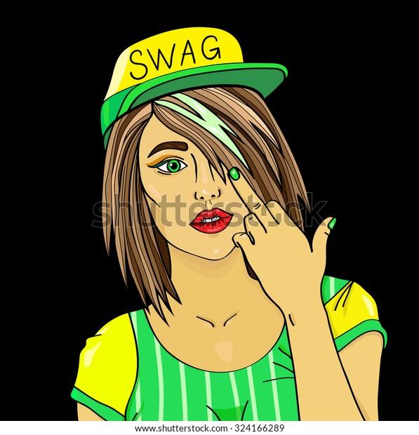 Swag Girl Pretty Young Urban Rap Stock Vector (Royalty Free