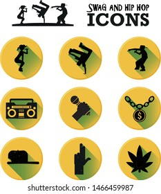Swag, hip hop, rap, and R&B music icon set: twerking, street danceing, rapper, radiocassete, microphone, gold chain, cap, hand gun sign, marihuana leaf.