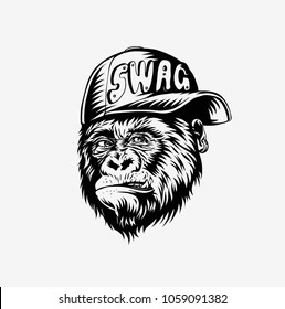 SWAG monkey with cap - Monkey modern street style attributes for stiker