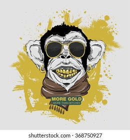 SWAG monkey with scarf and Sunglasses. print for t-shirt. HIPSTER print. Monkey modern street style attributes. Vector art. Monkey head for poster. Gold teeth. Big smile. Symbol 2016