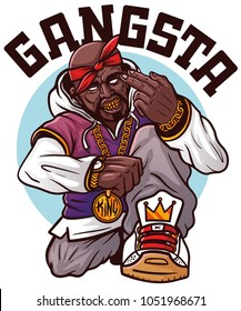 SWAG rapper with gold chain. Rap singer - gangsta man. Vector illustration for t shirt printing, apparel, poster, banner.  Swag rap sign. Print for tshirt, tee graphics with slogan. Black lives matter