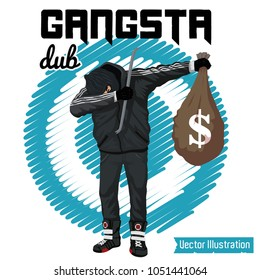 SWAG robber celebrates the victory. Vector illustration for t shirt printing, poster, banner. Graphic tee and printed tee. Dancing thief with money in hands. DUB rap sign. Funny print for tshirt, tee