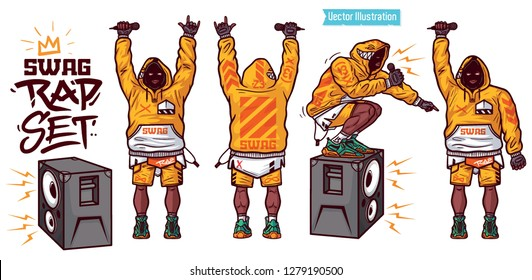 Swag vector set - rapper with microphone in hand. Swag rap collection - people rap poses. Rapper sits on speakers and reads his rap. Stylish gangster reads rap from scene. Isolated Vector illustration