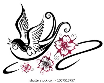 Swallow bird with cherry blossoms. Traditional Tattoo style.