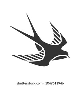 Swallow bird glyph icon. Sailor's tattoo sketch. Silhouette symbol. Negative space. Vector isolated illustration