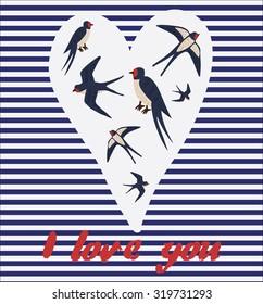 swallow bird love you card