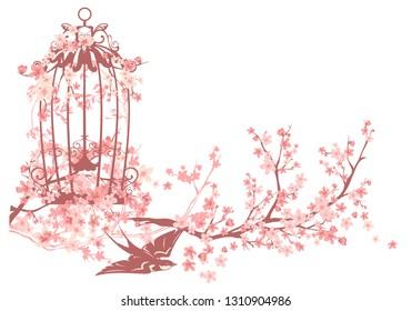 swallow bird, open cage and blooming sakura tree branches - spring season vector design